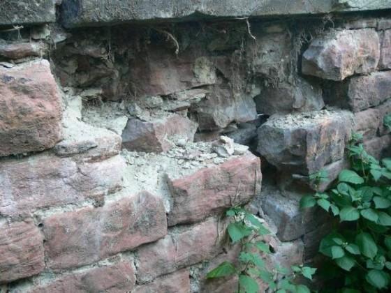 Oppau 6.8.2009 verfallene Rückseite der Mauer.