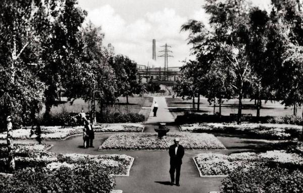 Oppau Park 1953 Vogeltränke - Blick zur BASF