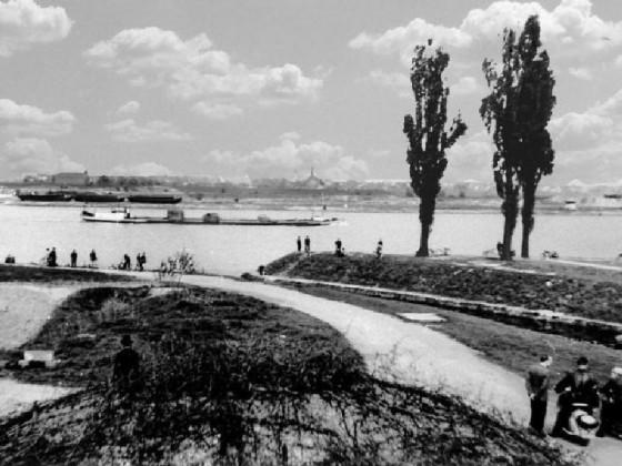 Rheinfrachter vor der Kanalmündung
