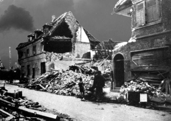 Oppau 1944 Industrie-Str. heute Bgm-Trupp-Str. Ecke Bad-Ausee-Str.