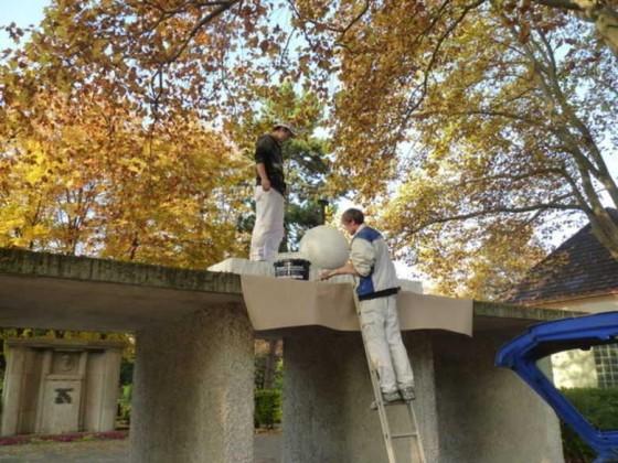 Oppau 31.10.2011 Reinigung und Renovierung Kriegerdenkmal