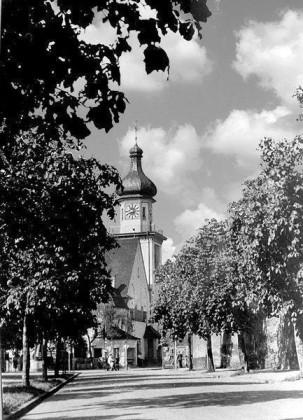KI: Edigheim um 1930 Dalberg-Strasse, prot. Kirche