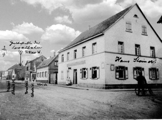 LO: Oppau 1912 Pfälzer Hof. Rusten-Str./Kuh-Gasse (Edigheimer/ Bgm. Trupp-Str)