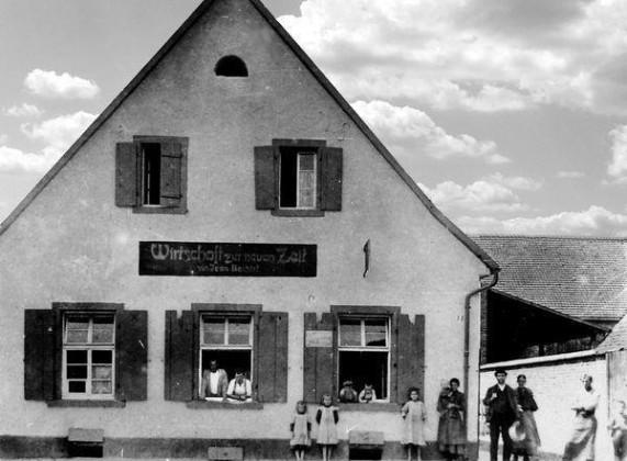 LO: Oppau um 1915 Zur Neuen Zeit, Rathaus-Str. (Martinsgasse)