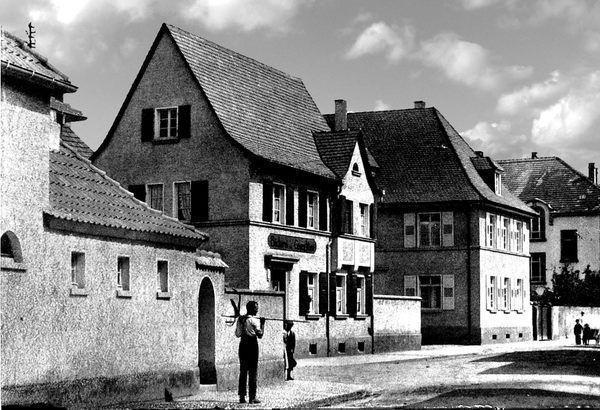 OR: Oppau um 1922 Friedrich-Str./Grosse Gasse, Bäckerei Wüst
