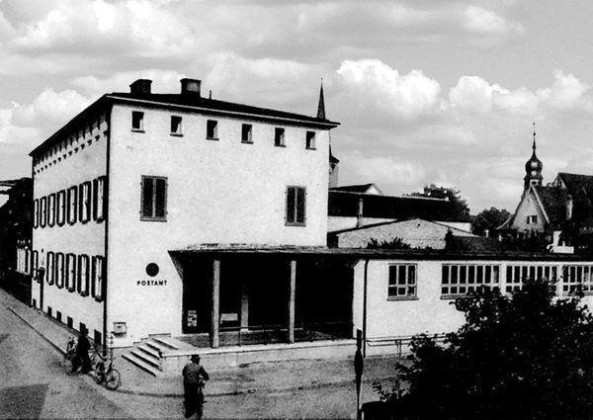 PO: Oppau 1934 Bismarck-(August-Bebel-)/Grosse Gasse, Postgebäude.