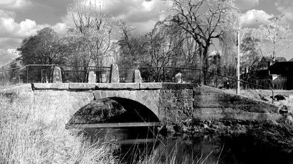 """RH: Oppau 1969 Altrhein-Arm und """"Bocksbrücke"""", Ur-Rhein 808."""
