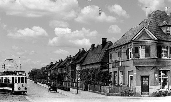 ST: Oppau 1928 Hindenburg-Ring Strassenbahn in die Industrie-Strasse