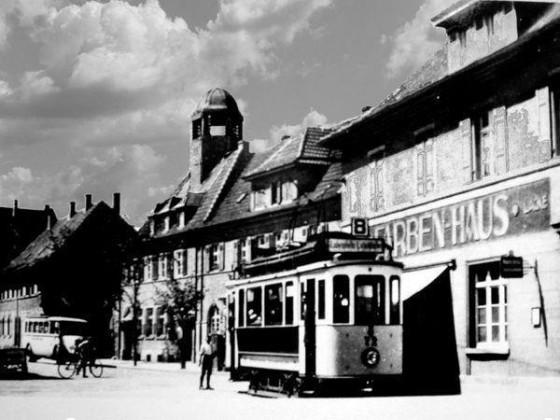 ST: Oppau 1928 Industrie-Str. (Bgm-Trupp-Strasse). Endstelle Linie 8.