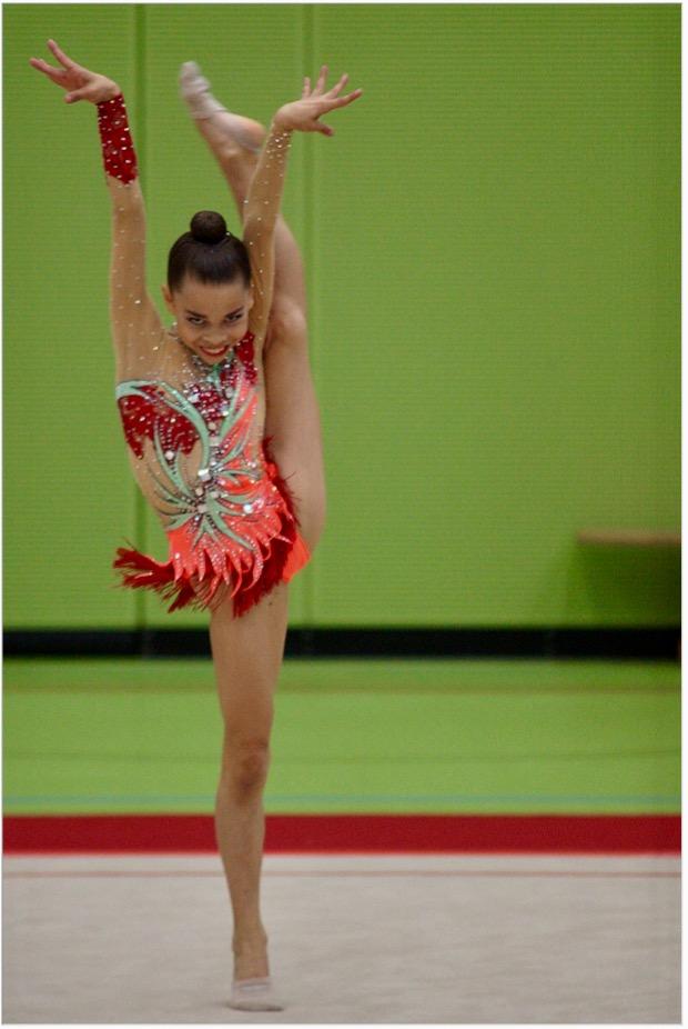 Hannah Vester bei ihrer Übung ohne Handgerät (Platz 3)