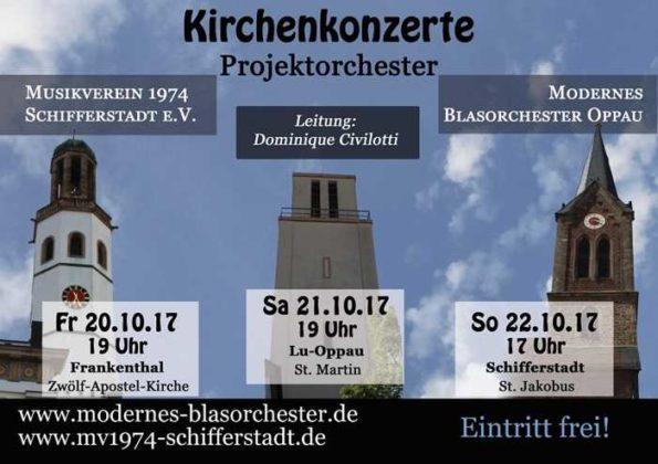 Plakat für die große Kirchenkonzertreihe mit den drei Kirchtürmen als Blickfang