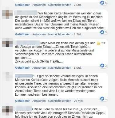 """Auszug aus den Leserreaktionen """"Tiere im Zirkus"""""""