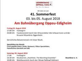 Sommerfest Liederkranz Programm 2018