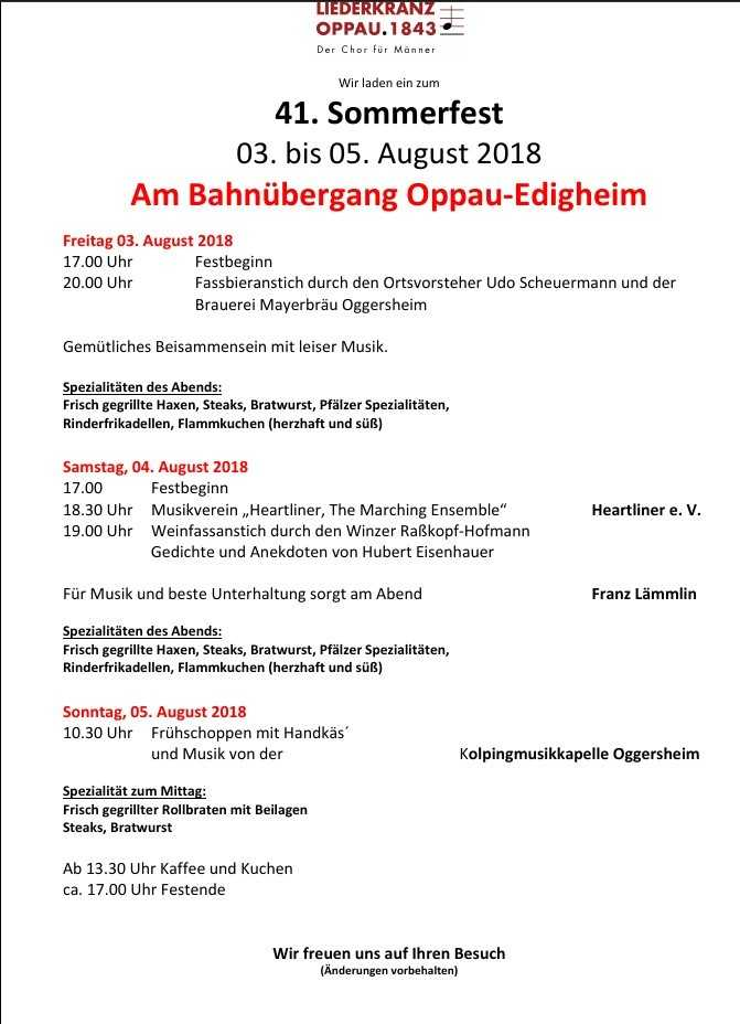 Liederkranz Sommerfest 2018 - Programm aktuell