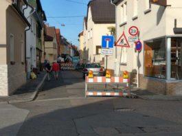 Sperrung des Verkehrs Friedrichstrasse Ecke Windthorststrasse