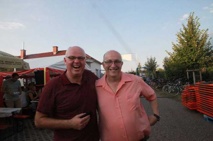 Die Kommunalpolitik hat Spaß: Roman Bertram CDU und Frank Meier SPD