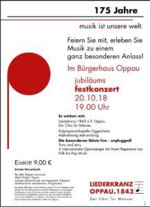 Oppau: Jubiläums-Festkonzert - 175 Jahre Liederkranz Oppau 1843 @ Bürgerhaus Oppau | Ludwigshafen am Rhein | Rheinland-Pfalz | Deutschland
