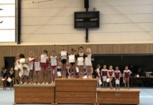 Gaumeisterinnen im Wettkampf P-Stufe Jahrgang 2012 u. jünger Emma Bechtel, Lijana Miftari, Lea Stendel, Alissa Petry