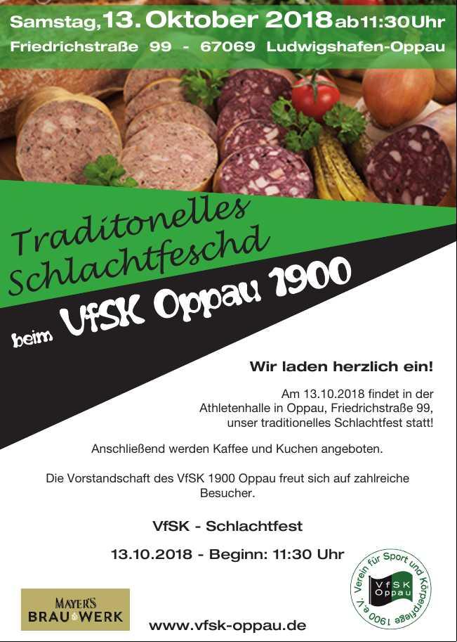 Schlachtfest beim VFSK Oppau 1900 @ Athletenhalle | Ludwigshafen am Rhein | Rheinland-Pfalz | Deutschland