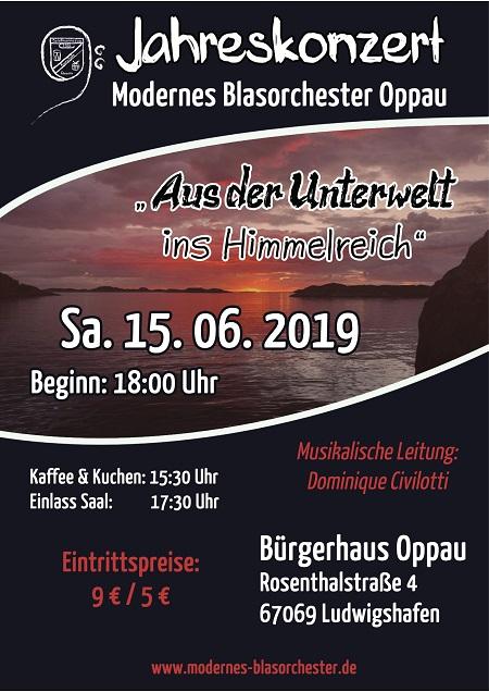 Plakat für das 8. Jahreskonzert des modernen Blasorchesters Kurpfalz-Oppau Foto:MBO