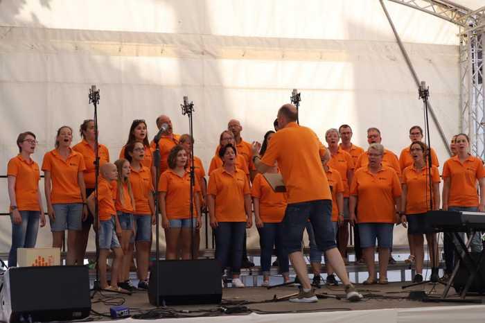 Junger Chor TakeFour auf der Bühne im Hopfengarten - Mainz - Foto: Sängerland